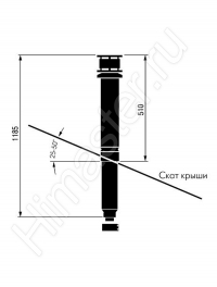вертикальный проход дымохода[воздуховода vaillant 60/100 мм через крышу 303800  Vaillant