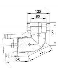 Отвод Vaillant на 87°, 80/125 мм PP, коаксиальный, для прокладки на фасаде